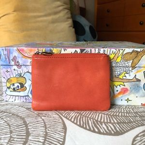 Madewell Leather Pouch Wallet Orange